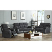 Manhattan Fabric/Leather Reclining Full Sofa Set (3+2 or 3+1+1) - Grey or Brown - Grey/Black 3R+2R