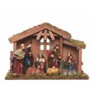 Bellatio Decorations Kerststal met 8 figuren 30 cm