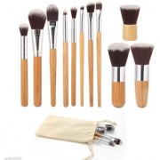 Looks United Makeup Kabuki Foundation Blending Blush Concealer Eye Face Liquid Powder Cosmetics Brushes (Pack of 11)