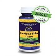 Complex Forte Herbagetica (Ca+Mg+Se+Si+Zn) cu Vitamina D3 2000UI 30cps
