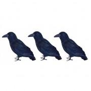 Merkloos 3x Raven met veren