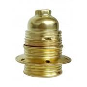 E27 Metall-Leuchtmittelfassung, mit Kragen, Aussengewinde mit Schraubring, Farbe gold.