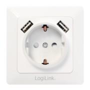Priza ingropata de perete cu Schuko si 2 x USB Alb, Logilink PA0162