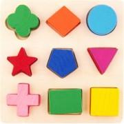 Puzzle educational din lemn cu forme geometrice 9 piese multicolor BBL1731