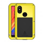 LOVE MEI Dust-proof Shock-proof Splash-proof Powerful Metal + Silicone Defender Mobile Phone Case for Xiaomi Mi Mix 2s - Yellow