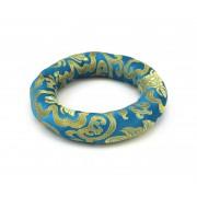 Brokátový prstencový vankúšik o priemere 12,5 cm - tyrkysový