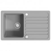 vidaXL Žulový kuchyňský dřez single s odkapávačem reverzibilní šedý