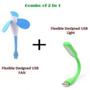 Combo of 2 in 1 USB FAN and USB LED Light with Flexible design for PC Laptop