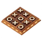 BEST Tic Tac Toe - Jamun Wood Board Game 5.5 Inch ( Tick tack toe ) - Metal Noughts and Crosses Rosewood Handmade Wooden Centrepiece Game