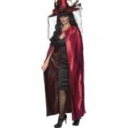 Pelerina Halloween Vrajitoare Reversibila Rosu/Negru Deluxe