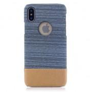 GadgetBay Etui à combinaison cuir bleu et poussière marron Etui rigide pour iPhone X XS