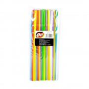 Paie Flexibile din Plastic OTI, 240x5 mm, 50 Buc/Set, Multicolor Fluorescente, Paie din Plastic, Paie Catering, Paie pentru Petreceri, Accesorii pentru Bar