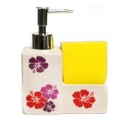 Dispenser crem pentru detergent de vase si burete galben