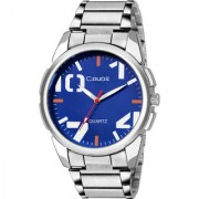 Crude Analog Watch Blue Color Dial With Stainless Steel Strap For Men's Boy's
