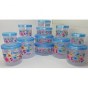 Airtight With Twister Plastic Containers Set of 12 PCS (2500ml 2400ml 1800ml 1600ml 1000ml 800ml 500ml 400ml) Blue