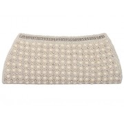 Spice Art Women's Pearl Embroidered White Clutch
