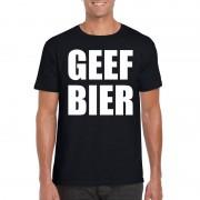 Shoppartners Geef Bier heren T-shirt zwart