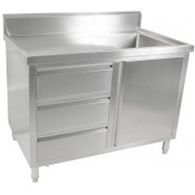 Single Sink Cabinet 1200 W x 700 D with Right Bowl and 150mm Splashback