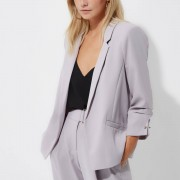 River Island Womens Petite Grey ruched sleeve blazer