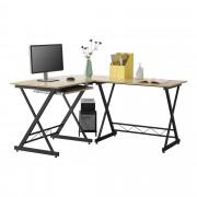 [en.casa]® Mesa Escritorio de esquina Trondheim - Escritorio de ordenador - 75 x 150 x 138 cm - con Soporte Teclado - Soporte para Computadora - PC - Mesa de oficina - Negro y Color roble