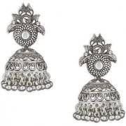 Spargz Traditional Jhumki Alloy Festive Wear Silver Oxidized Plated Kundan Earring For Women