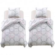 vidaXL Комплект спално бельо, 4 части, принт кръгове, 140x220/60x70 см