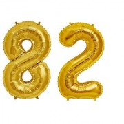 Stylewell Solid Golden Color 2 Digit Number (82) 3d Foil Balloon for Birthday Celebration Anniversary Parties