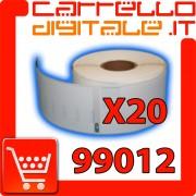 Etichette Compatibili con Dymo 99012 Bixolon Seiko 20 Rotoli