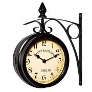 Dwustronny Zegar Ścienny Dworcowy Retro