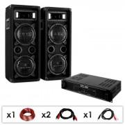 """Set DJ PA """"DJ-24"""" amplificatore PA, altoparlanti, 1200W"""