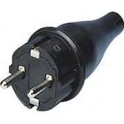 Földelt dugvilla Műanyag Fekete 31-222-2 - Adeleq