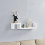 [en.casa]® Designová police na zeď - bílá - model 13