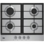 Plita incorporabila Beko HIAG64225SX, 4 arzatoare gaz, siguranta plita, aprindere electronica, 60 cm, gratare fonta, inox