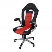 vidaXL Офис стол от изкуствена кожа с модерен дизайн, червен