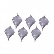 Dekoráció levél fém ezüst II (6 db/szett)