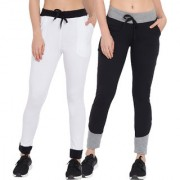 Cliths Women's Sport Wear Cotton Stylish Solid Joggers|White Black Black Grey Lowers For Women-Pack Of 2