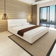 vidaXL Двойно легло с матрак от мемори пяна, бяло, 180x200 cм