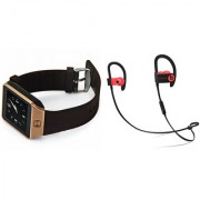Zemini DZ09 Smart Watch and QC 10 Bluetooth Headphone for SAMSUNG GALAXY GALAXY CORE MAX(DZ09 Smart Watch With 4G Sim Card Memory Card| QC 10 Bluetooth Headphone)