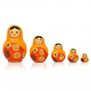 Set of 5 Piece New Years Gifts Hand Paints Matryoshka Traditional Indian Nesting Stacking Wooden Nested Dolls by Fine Craft India