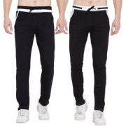 Cliths Set of 2 Casual Cotton Lowers For Men/ Red Black Red White Trackpants for Men