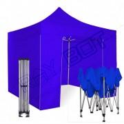 ray bot Gazebo pieghevole 3x3 blu Exa 55mm alluminio con laterali. PVC 350g