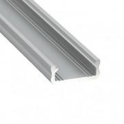 Alumínium U profil LED szalaghoz , 2 méter/db , lapos kivitel , MATT fedővel , CLICK MINI