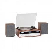 Auna Birmingham, HiFi sztereó rendszer, DAB+/FM, BT, bakelit lemez, CD, USB, AUX bemenet, fa (MG-TT-Birmingham)