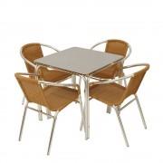 Bistro Sitzgarnitur aus Kunstrattan und Aluminium modern (5-teilig)