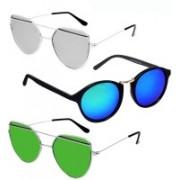 GreatDio Oval, Cat-eye Sunglasses(Blue, Silver, Green)