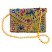 Unique Fashion Embroidered Yellow Multi-color Rajasthani Envelope Clutch / Sling Bag for Girls / Women Yellow Sling Bag