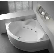 Vasca da bagno angolare Evo 140x140 cm con pannello bianco