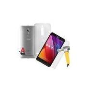 Kit Protecao Amana Smartphone Asus Zenfone 2 Tela 5.5 Pelicula De Vidro Premium E Capa Em Tpu Trans