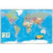 Merkloos Poster wereldkaart 61 x 91 cm wanddecoratie
