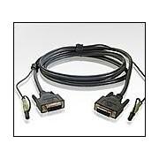 ATEN 2L-7D02V :: DVI KVM кабел, DVI-D M + 2 Audio plugs >> DVI-D M + 2 Audio plugs, 1.8 м
